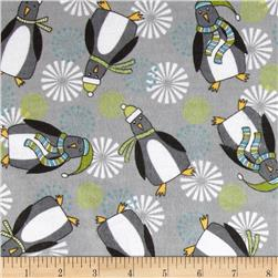 Playful Penguins Flannel Penguin Toss Grey Fabric