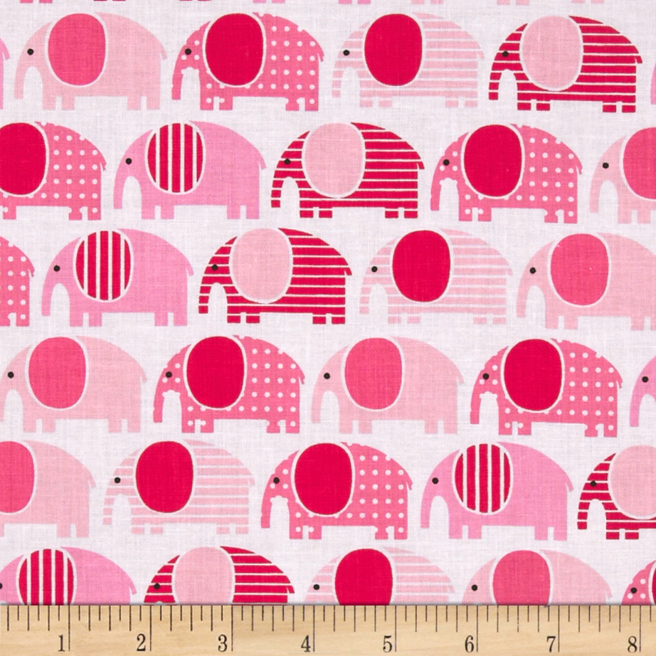 Urban Zoologie Elephants Pink Fabric