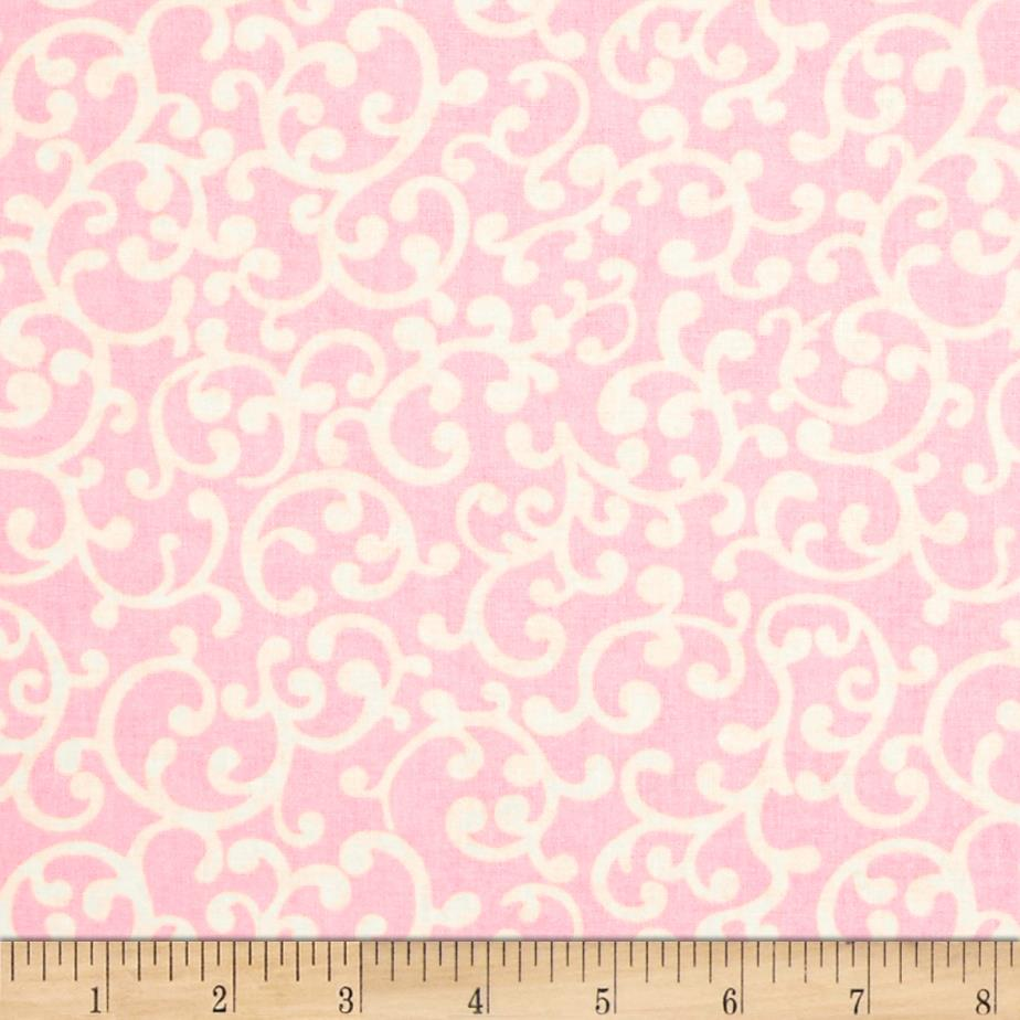 Nursery rhyme scroll pink discount designer fabric for Nursery fabric