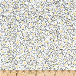 Telio Morocco Blues Stretch Cotton Shirting Popcorn Floral Print Yellow
