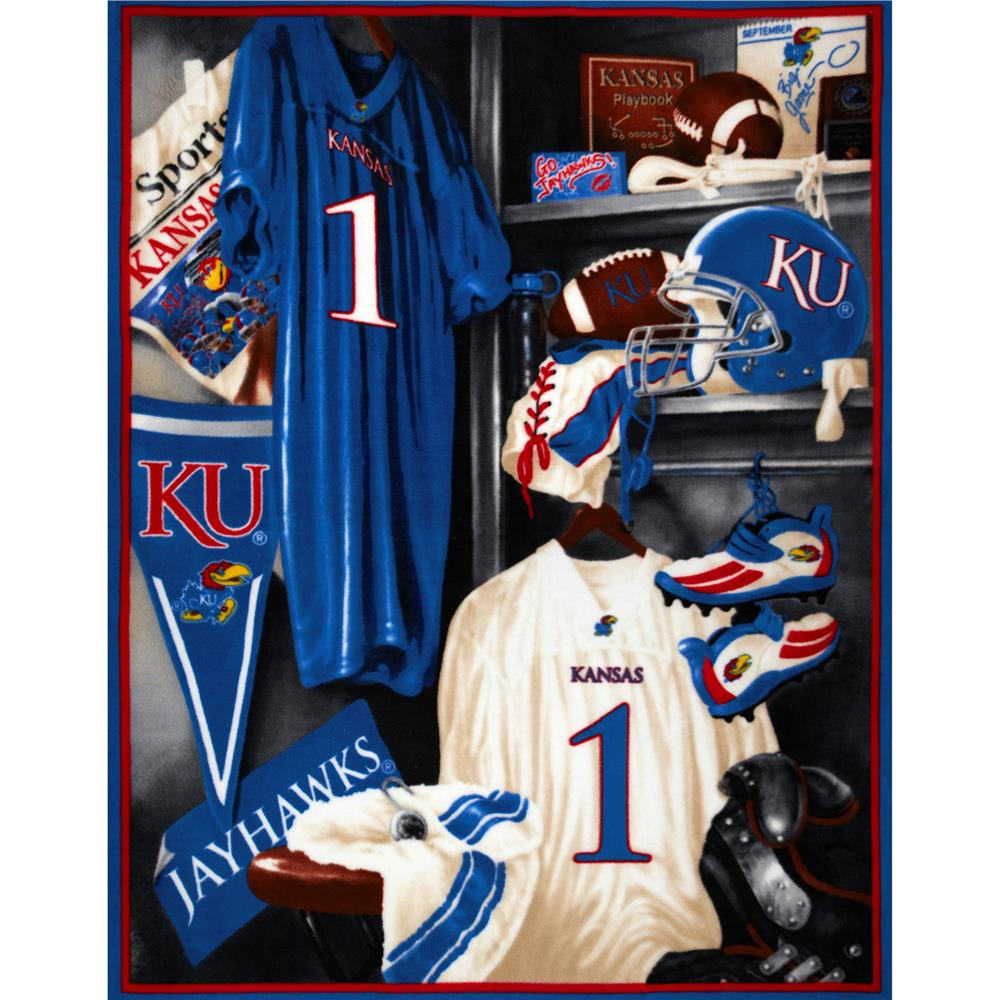 Collegiate Locker Room Fleece Panel University of Kansas Blue