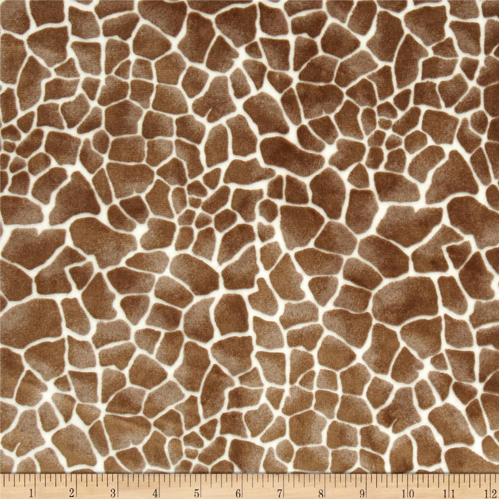 Shannon minky cuddle baby giraffe cappuccino discount for Designer animal print fabric