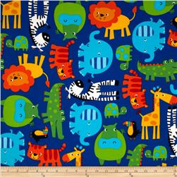 Timeless Treasures Cuddle Flannel Jungle Animals Blue