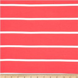 Jersey Knit Large Coral/White Stripe