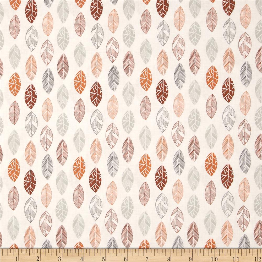 Fabric Freedom Quirky Floral Quirky Leaves Orange