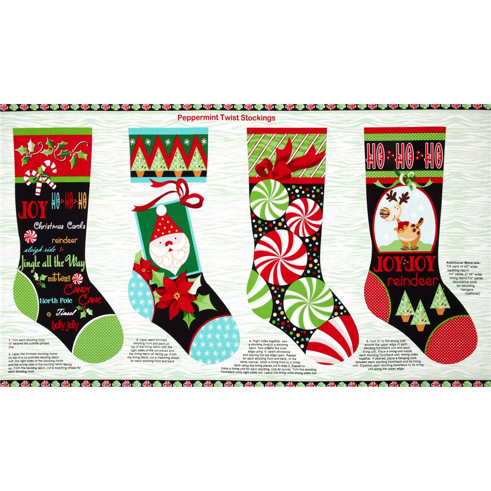 Peppermint Twist Christmas Stocking Panel Multi
