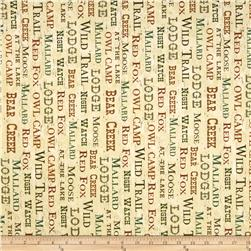 Postcard From the Lodge Words Tan Fabric