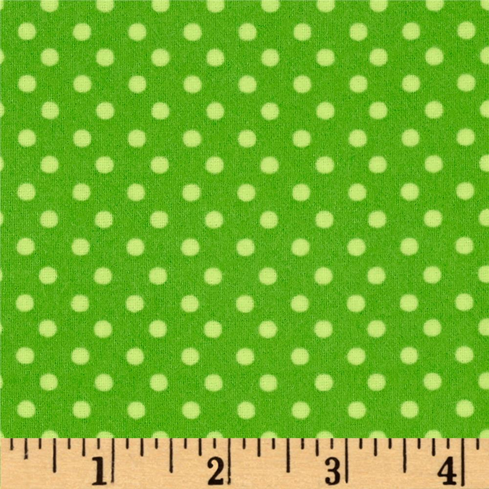What a Hoot Flannel Dots Green