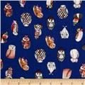 Monet Rayon Challis Owls Dark Blue