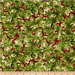 Kaufman Holiday Flourish Metallics Large Leaves Ivory