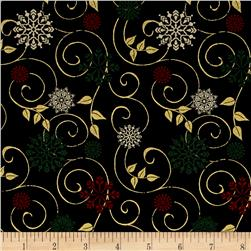 Ornamental Splendor Metallic Scrolling Snowflake Black/Multi