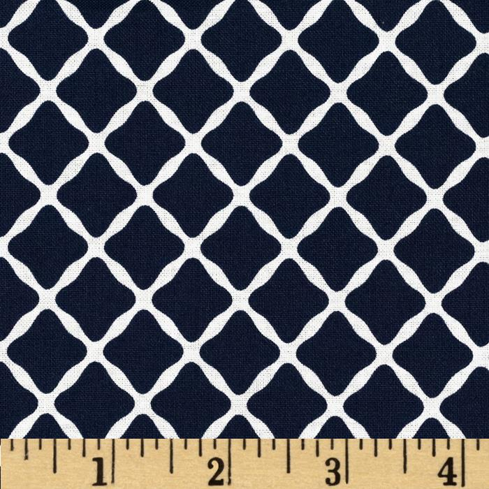 Aunt Grace Ties One On Large Trellis Navy