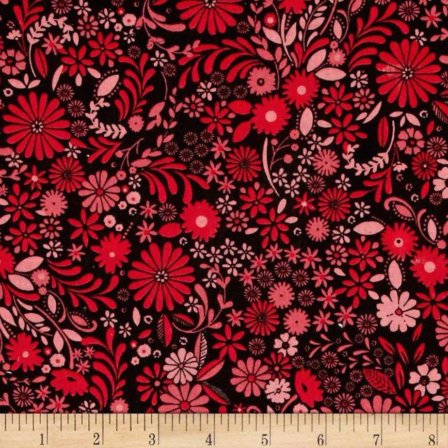 Wallpaper Flowers Red/Pink