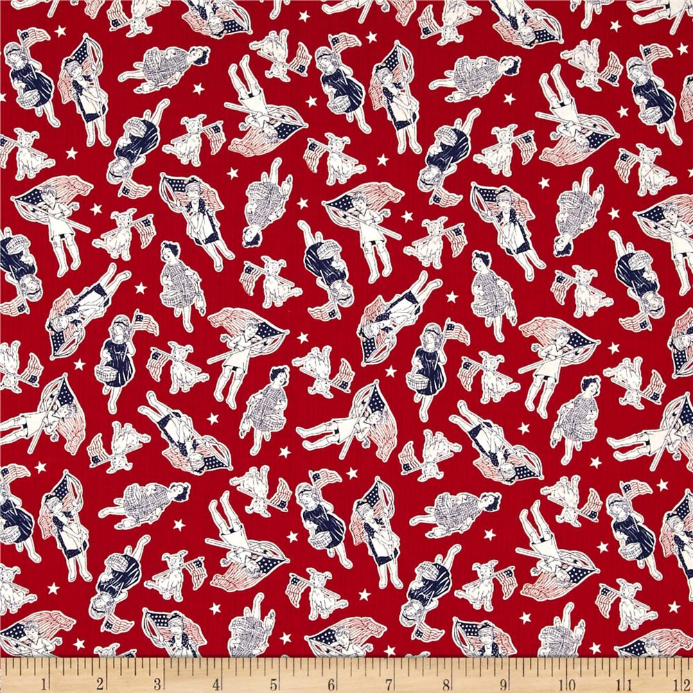 Let 39 s celebrate children red discount designer fabric for Wholesale childrens fabric