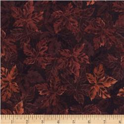 Timeless Treasures Flannel Cabin Rules Packed Maple Leaves Rust