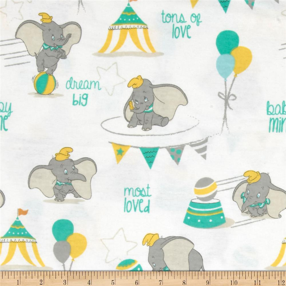 Disney Flannel Dumbo Most Loved White Fabric