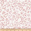 Crepe de Chine Hearts Red/Cream