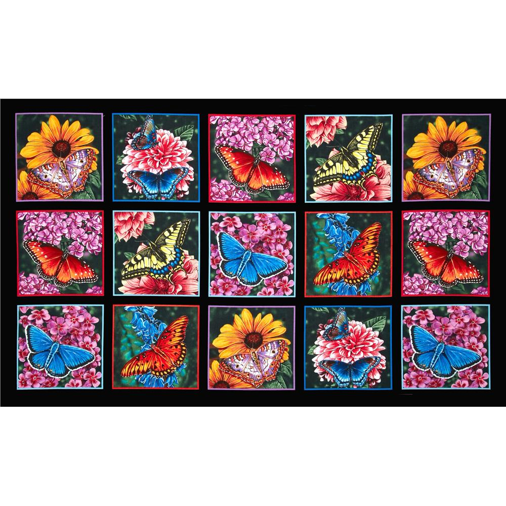 Butterfly Garden 24'' Panel Black Fabric By The Yard