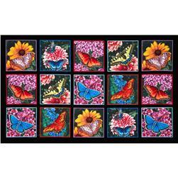 Butterfly Garden 24'' Panel Black Fabric