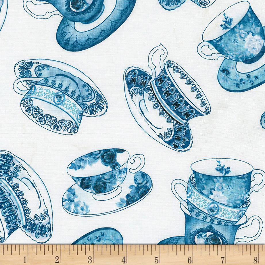 Timeless Treasures True Blue Tossed Tea Cups White
