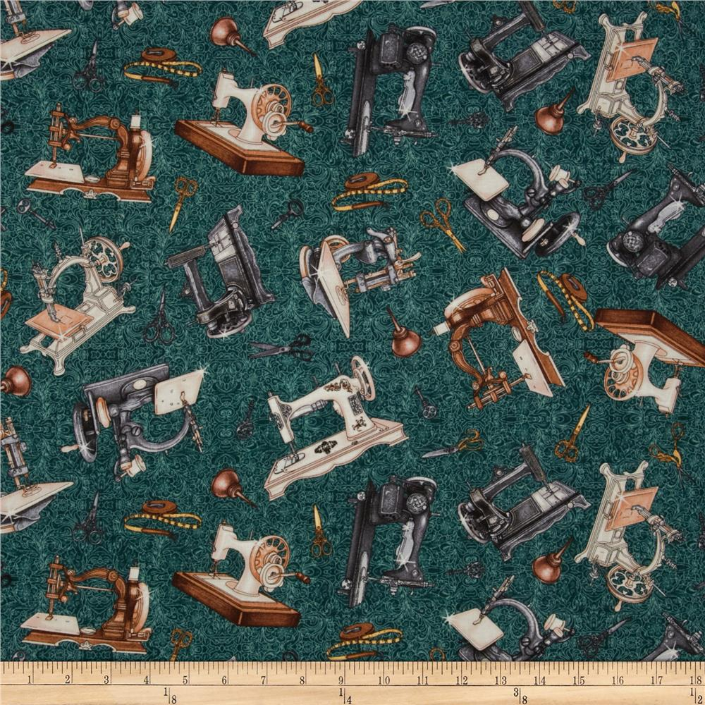 Seams Like Old Times Sewing Machine Toss Teal