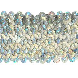 "1 3/4"" Hologram Stretch Sequin Trim Silver"