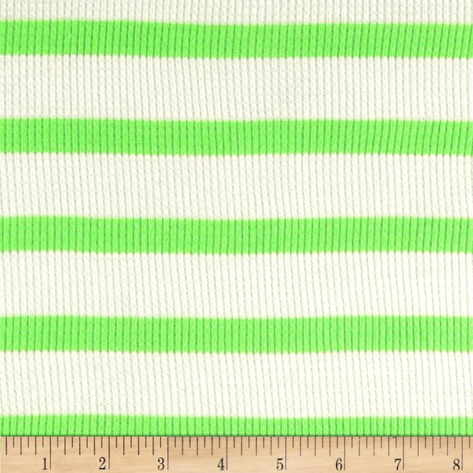Designer Yarn Dyed Rayon Thermal Knit Stipe Lime/White