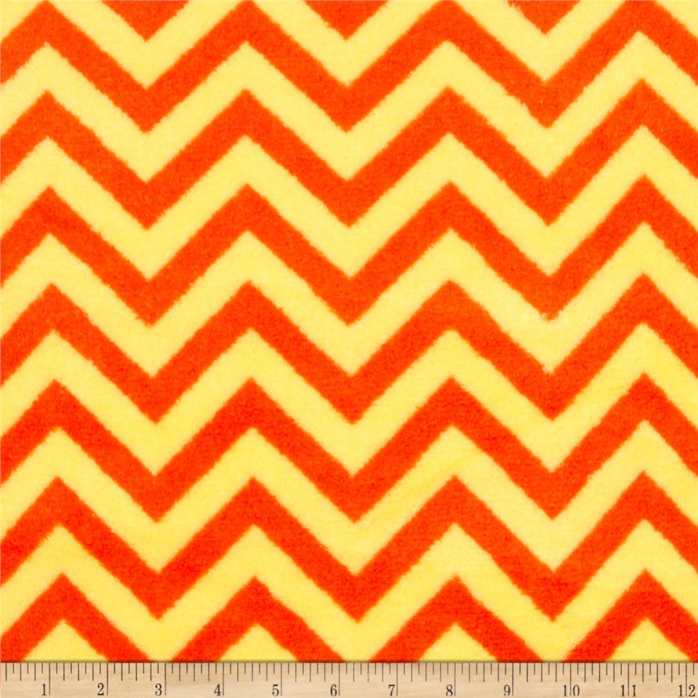 Plush Coral Fleece Chevron Tangerine/Lemon