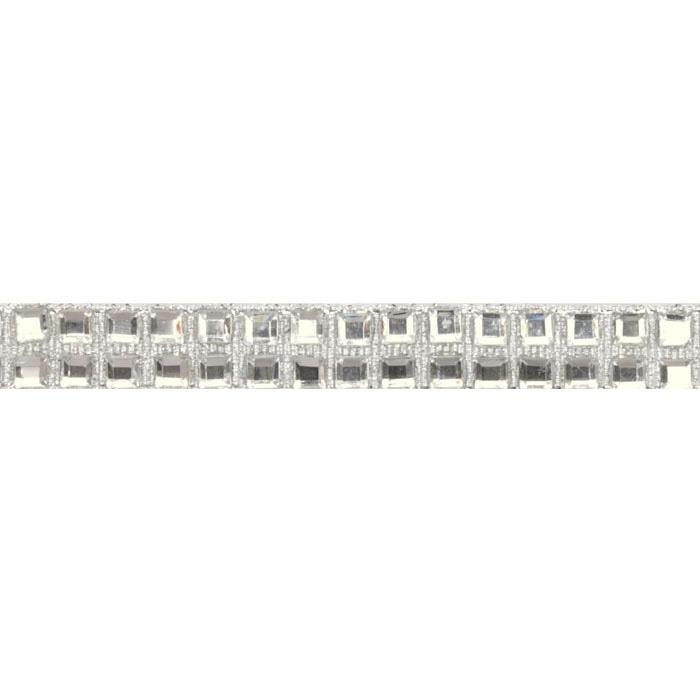 Hot Fix Flatback Rhinestone Trim Crystal Square/ Silver Band