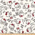 Kokka Sanrio Hello Kitty Rough Sketch Double Gauze Cream