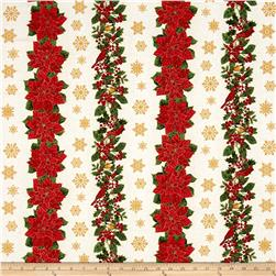 Timeless Treasures Glamourous Holiday Christmas Stripe Cream