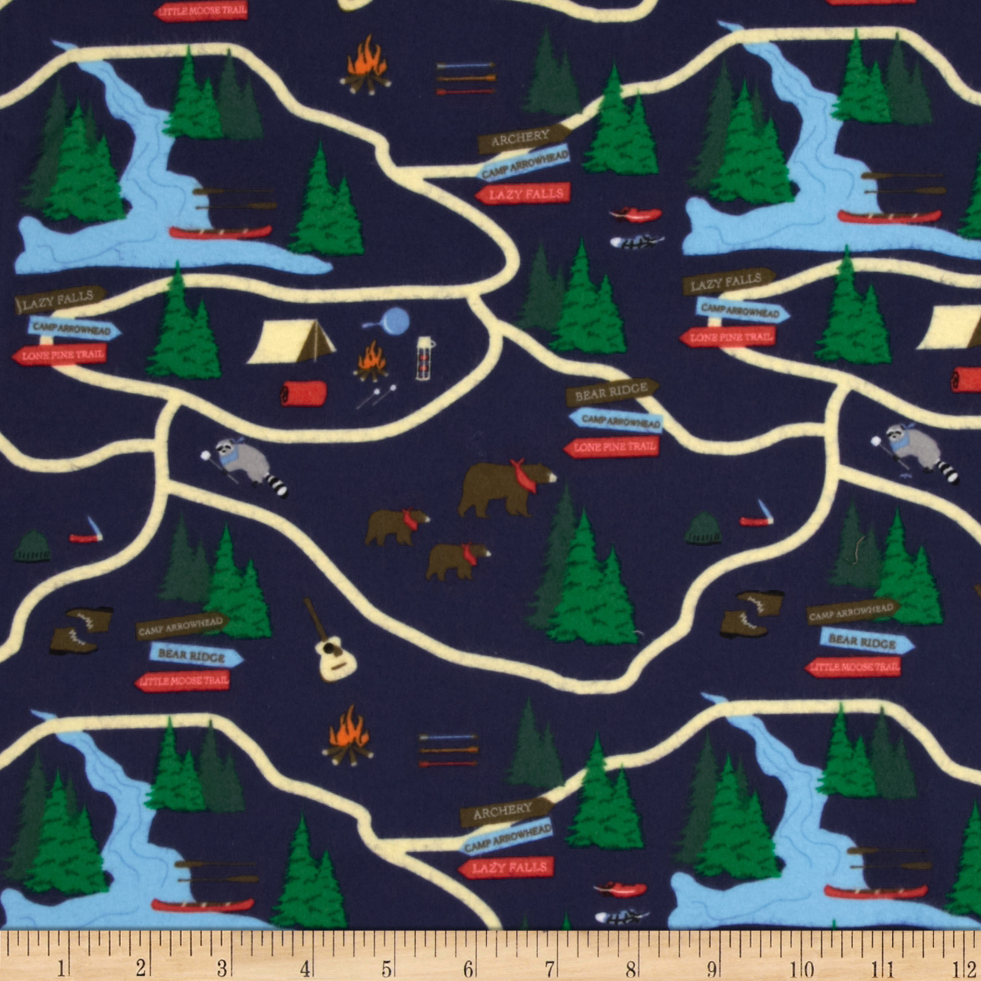 Take a Hike Flannel Map Navy Fabric