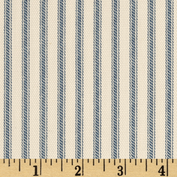 Vertical Ticking Stripe Ivory/Cerulean Blue Fabric