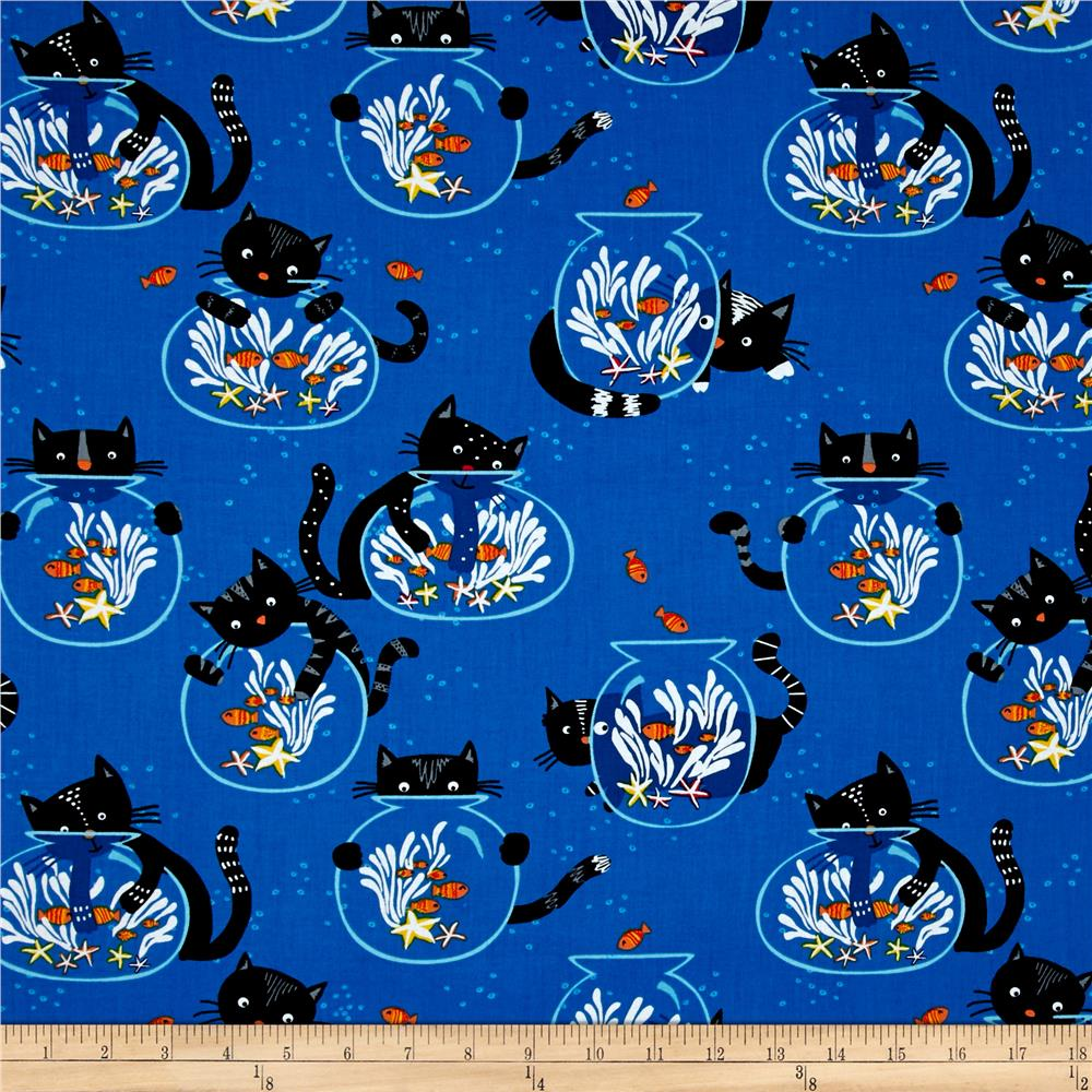 Timeless Treasures Cats/Fish Bowls Blue Fabric By The Yard