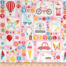 Riley Blake Girl Crazy Flannel Main Pink Fabric