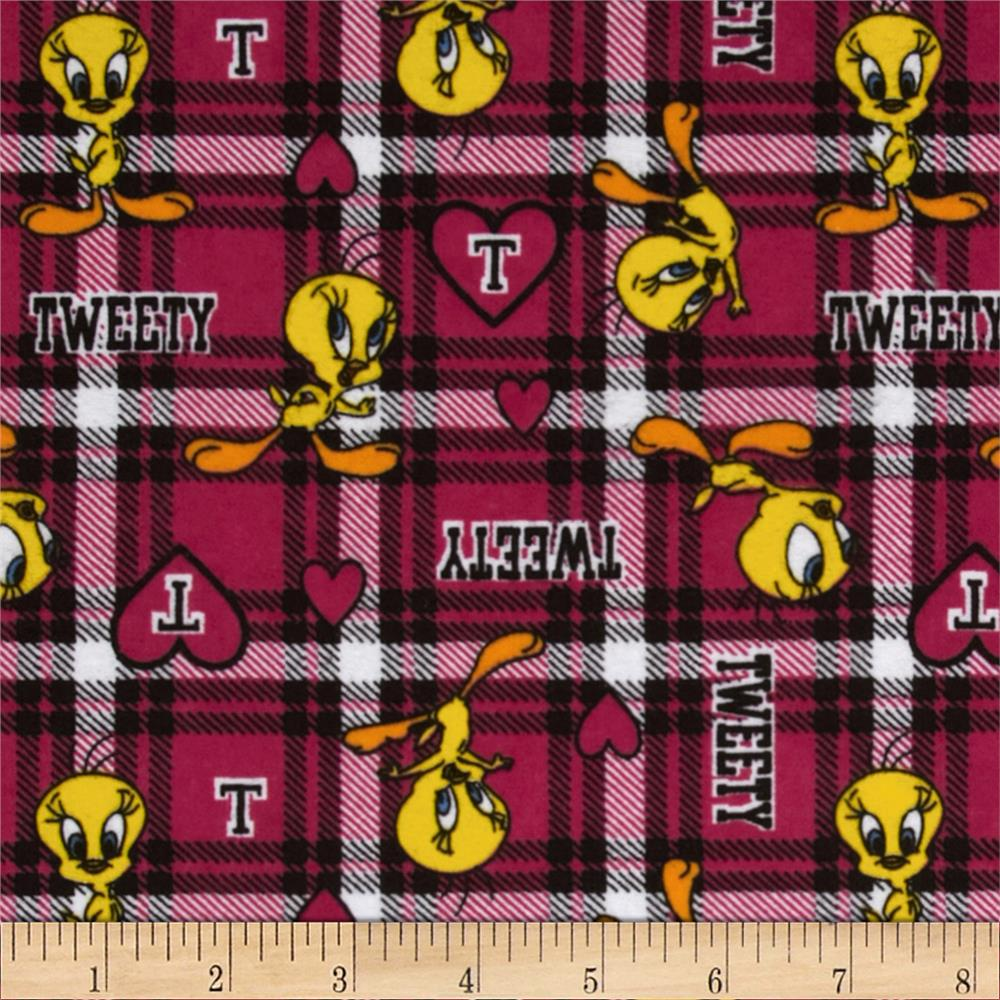 Tweety Flannel Plaid Fuchsia