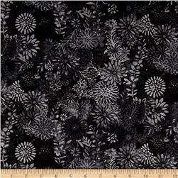 "108"" Wide Quilt Back Packed Floral Black"