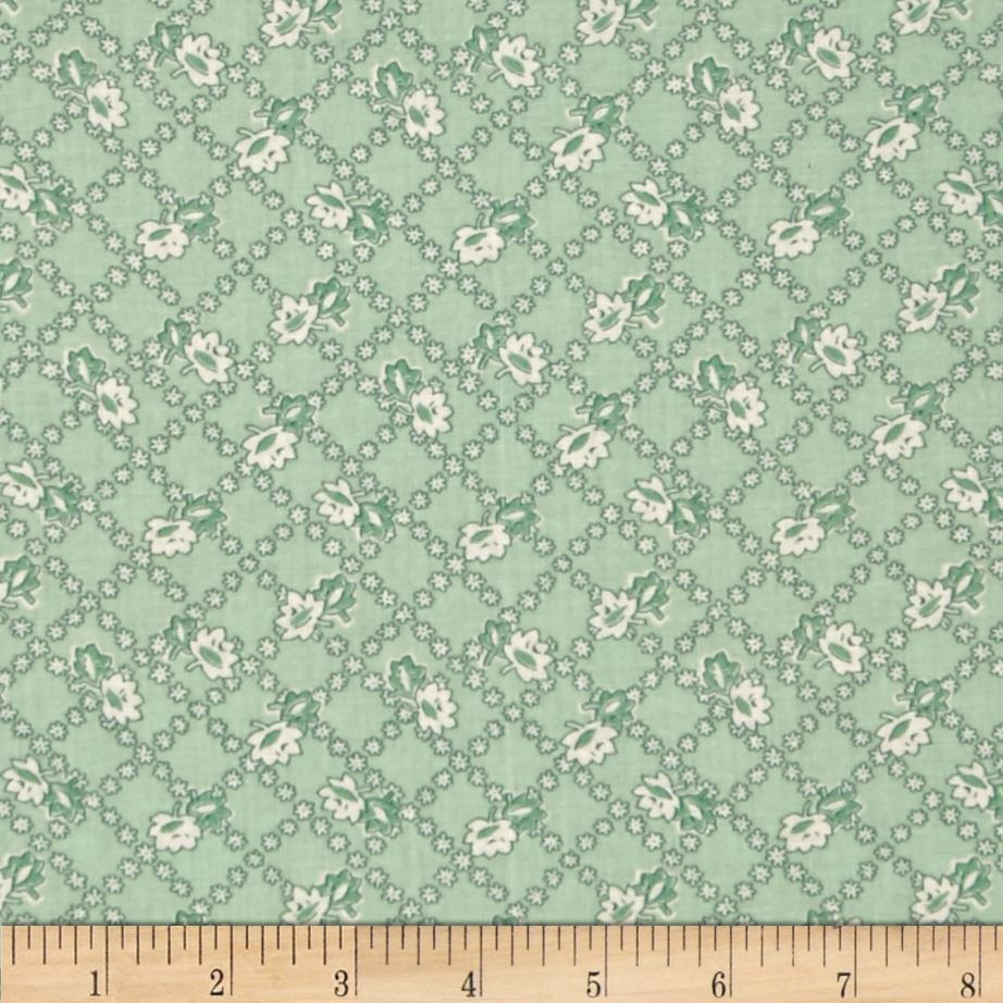 Spring Showers Floral Lattice Green