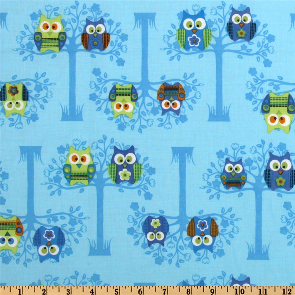 Owls Sitting Pretty Blue