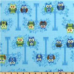 Owls Sitting Pretty Blue Fabric