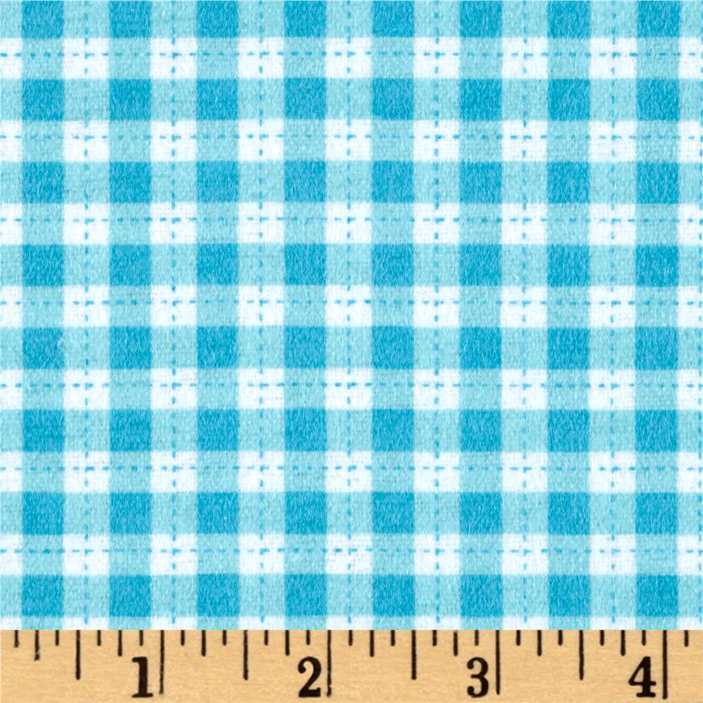 Flannel Gingham Turquoise Fabric