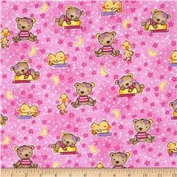 Comfy Flannel Baby Bears & Ducks Pink