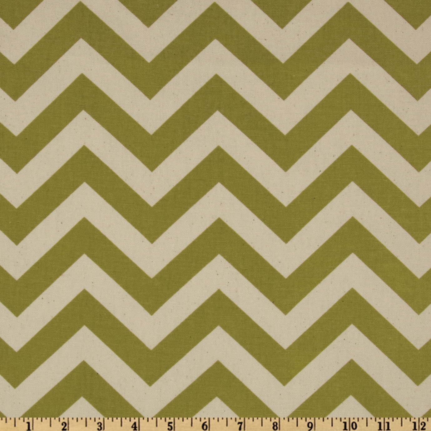 Premier Prints Zig Zag Village Green/Natural Fabric