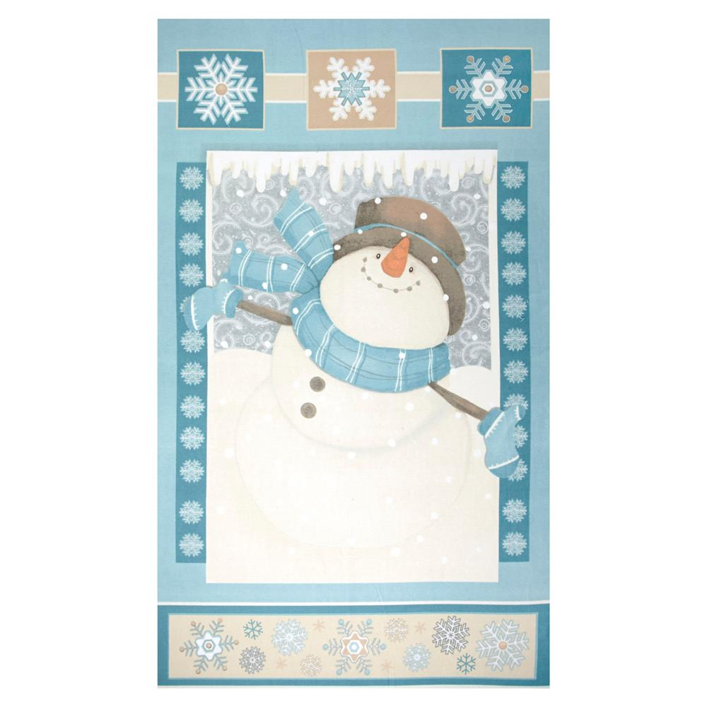 I Still Love Snow Flannel Snowman 25'' Panel Blue Fabric