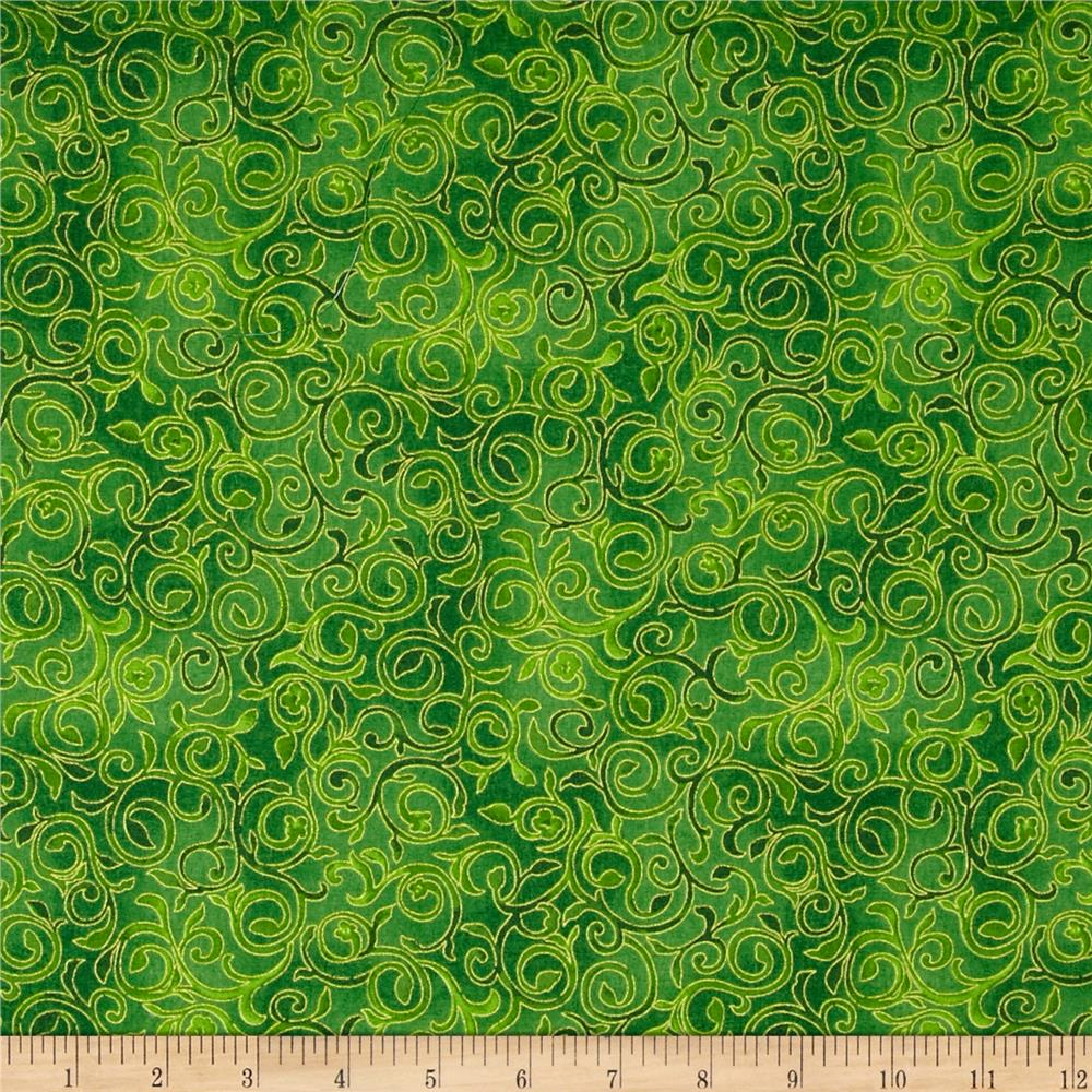 Christmas Bells Metallic Scroll Green