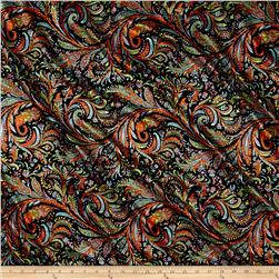 Flourish Satin Charmeuse Print Orange/Black