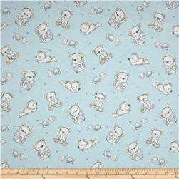 Bears and Buddies Flannel Tossed Bears Light Blue