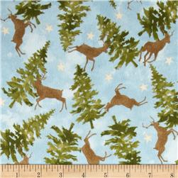 Wonder of Winter Flannel Deer Blue