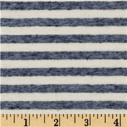 Stretch Rayon Blend Jersey Knit Stripes Heather Blue/Ivory
