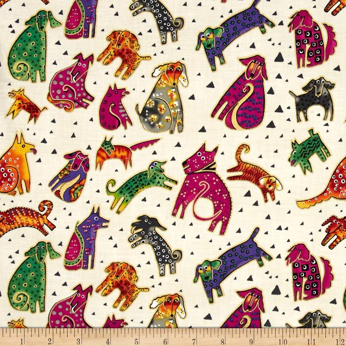 Laurel Burch Dogs & Doggies Metallic Tossed Dogs Cream Metallic
